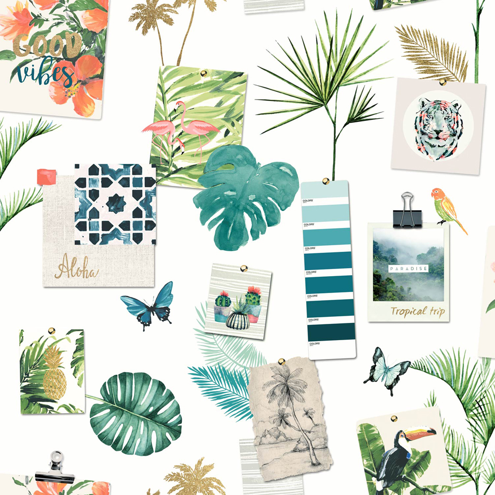 Modern Wallpaper Tropical Mood Multi Muriva L37304
