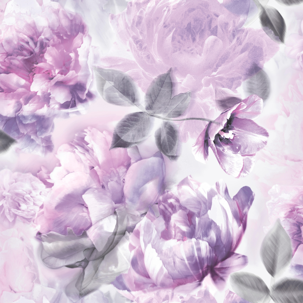 floral wallpaper; Lipsy wallpaper; Lipsy; floral; florals; flower; flowers; blossom; blossoms; flower; flowers; flowers in soft colours; shabby chic; glitter; pastel; soft colours; faded background; romantic; bedroom; light grey and lilac